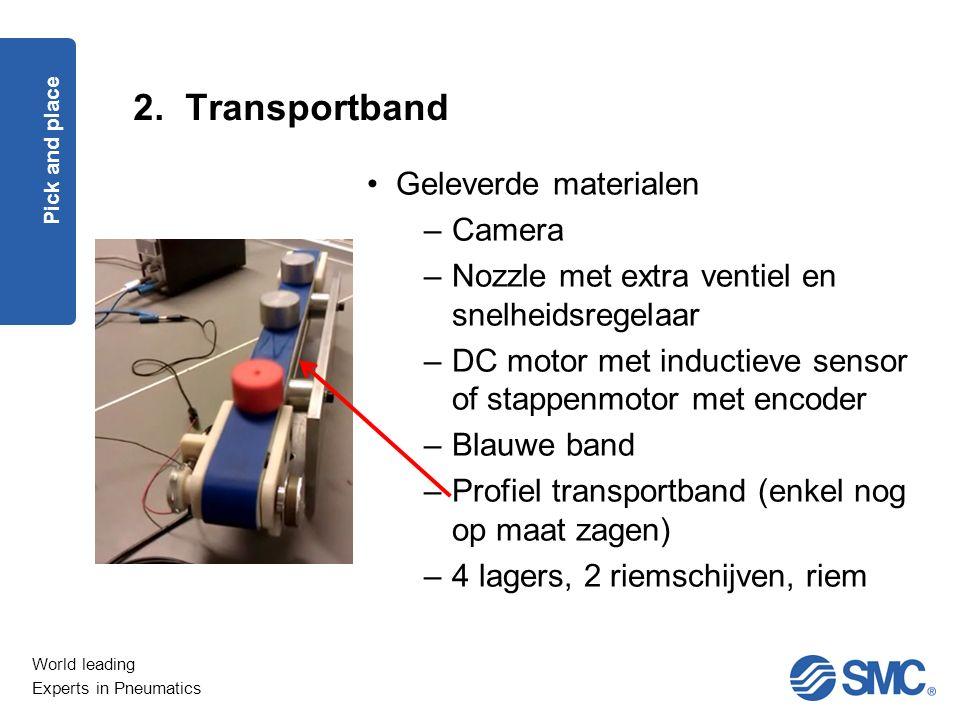 World leading Experts in Pneumatics 2. Transportband Pick and place Geleverde materialen –Camera –Nozzle met extra ventiel en snelheidsregelaar –DC mo