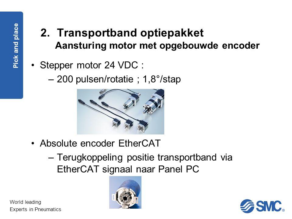 World leading Experts in Pneumatics 2.Transportband optiepakket Aansturing motor met opgebouwde encoder Pick and place Stepper motor 24 VDC : –200 pul