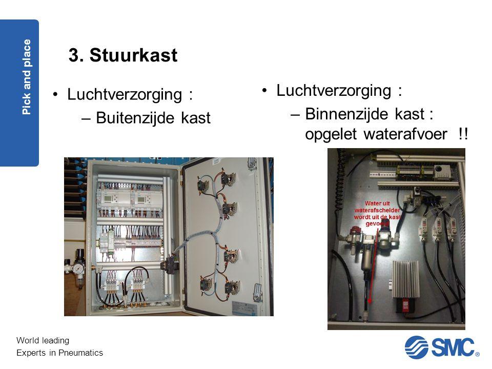 World leading Experts in Pneumatics 3. Stuurkast Pick and place Luchtverzorging : –Buitenzijde kast Luchtverzorging : –Binnenzijde kast : opgelet wate