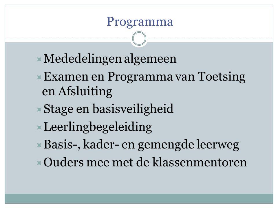 Programma  Mededelingen algemeen  Examen en Programma van Toetsing en Afsluiting  Stage en basisveiligheid  Leerlingbegeleiding  Basis-, kader- e