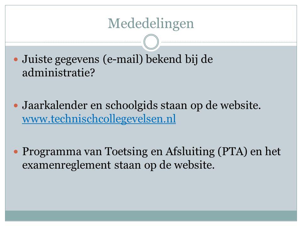 Mededelingen Juiste gegevens (e-mail) bekend bij de administratie? Jaarkalender en schoolgids staan op de website. www.technischcollegevelsen.nl Progr