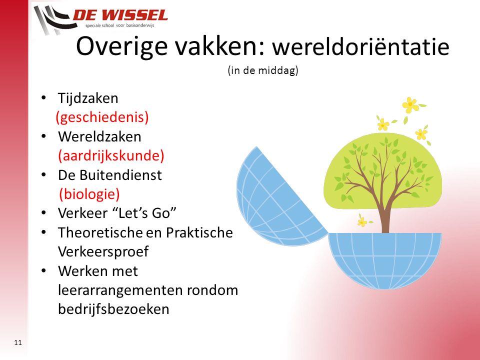 """11 Overige vakken: wereldoriëntatie (in de middag) Tijdzaken (geschiedenis) Wereldzaken (aardrijkskunde) De Buitendienst (biologie) Verkeer """"Let's Go"""""""