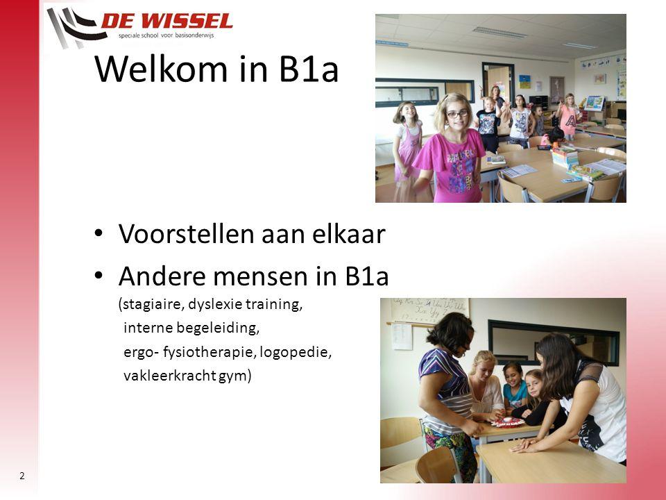 2 Voorstellen aan elkaar Andere mensen in B1a (stagiaire, dyslexie training, interne begeleiding, ergo- fysiotherapie, logopedie, vakleerkracht gym) W