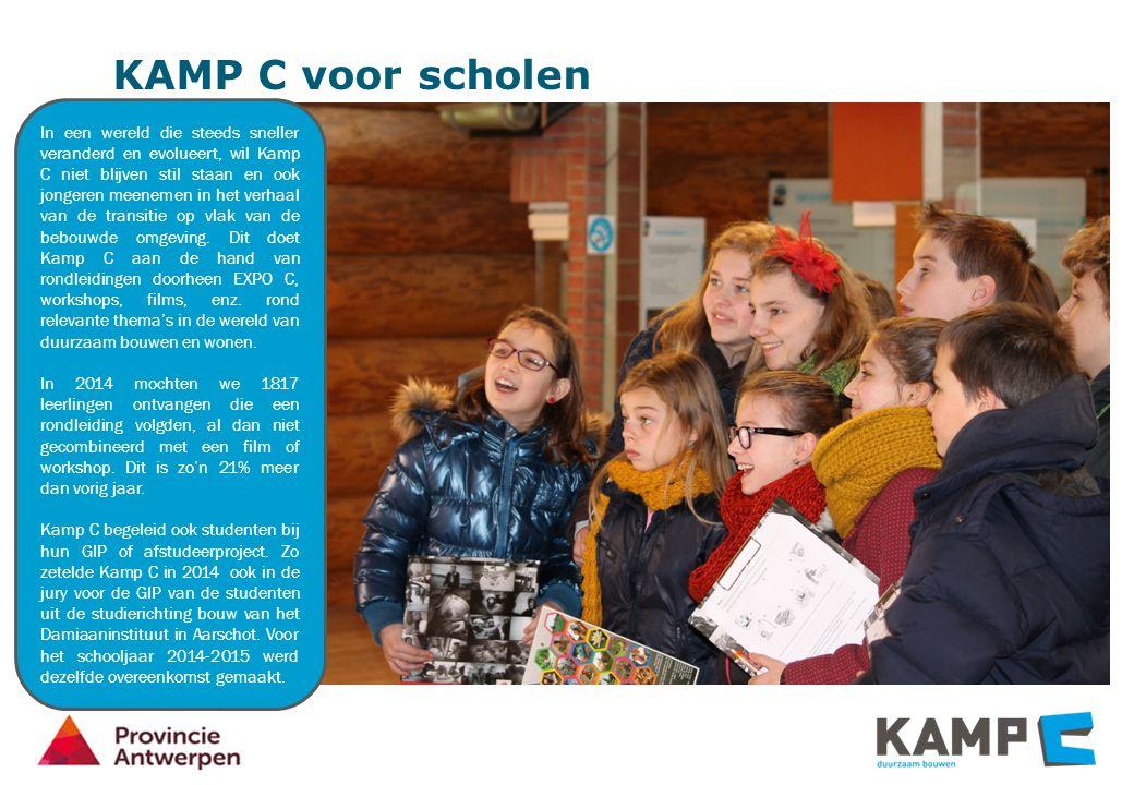 KAMP C voor scholen In een wereld die steeds sneller veranderd en evolueert, wil Kamp C niet blijven stil staan en ook jongeren meenemen in het verhaal van de transitie op vlak van de bebouwde omgeving.