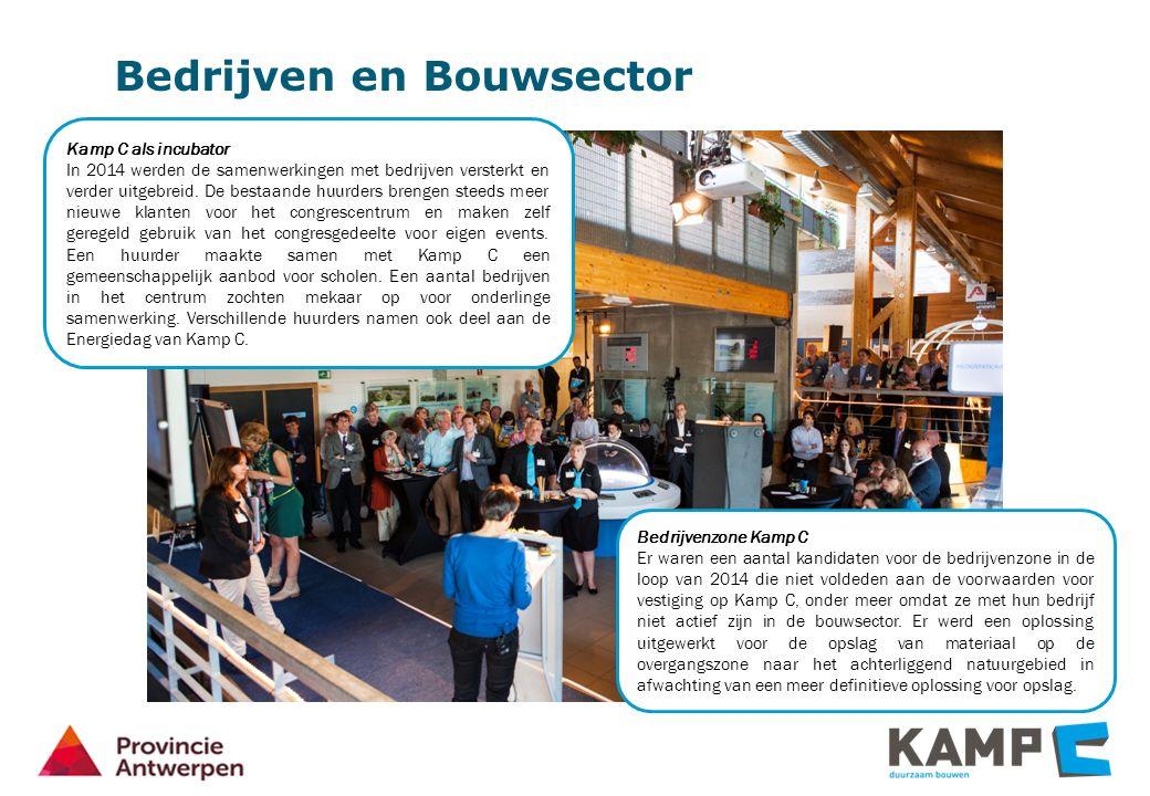 Bedrijven en Bouwsector Kamp C als incubator In 2014 werden de samenwerkingen met bedrijven versterkt en verder uitgebreid.