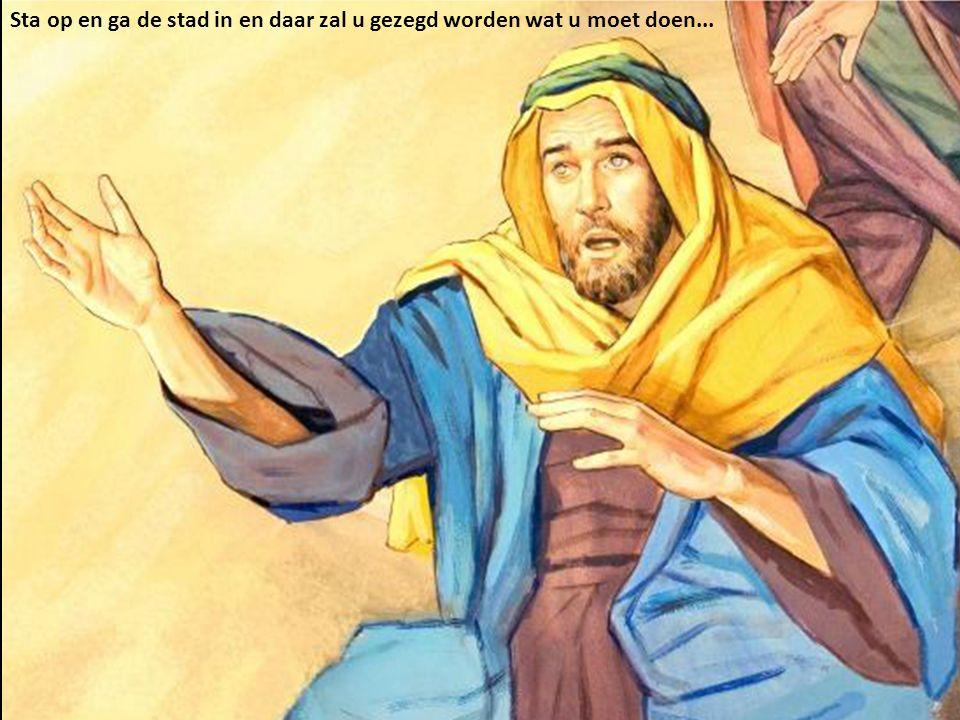 En Saulus stond op van de grond; en toen hij zijn ogen opendeed, zag hij niemand…