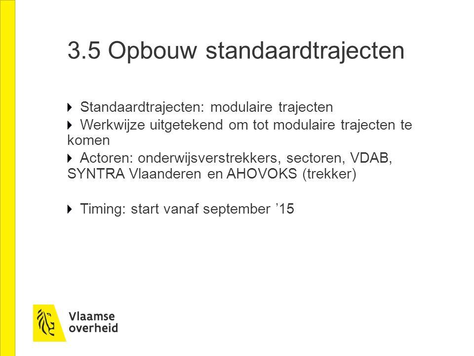 3.5 Opbouw standaardtrajecten Standaardtrajecten: modulaire trajecten Werkwijze uitgetekend om tot modulaire trajecten te komen Actoren: onderwijsverstrekkers, sectoren, VDAB, SYNTRA Vlaanderen en AHOVOKS (trekker) Timing: start vanaf september '15