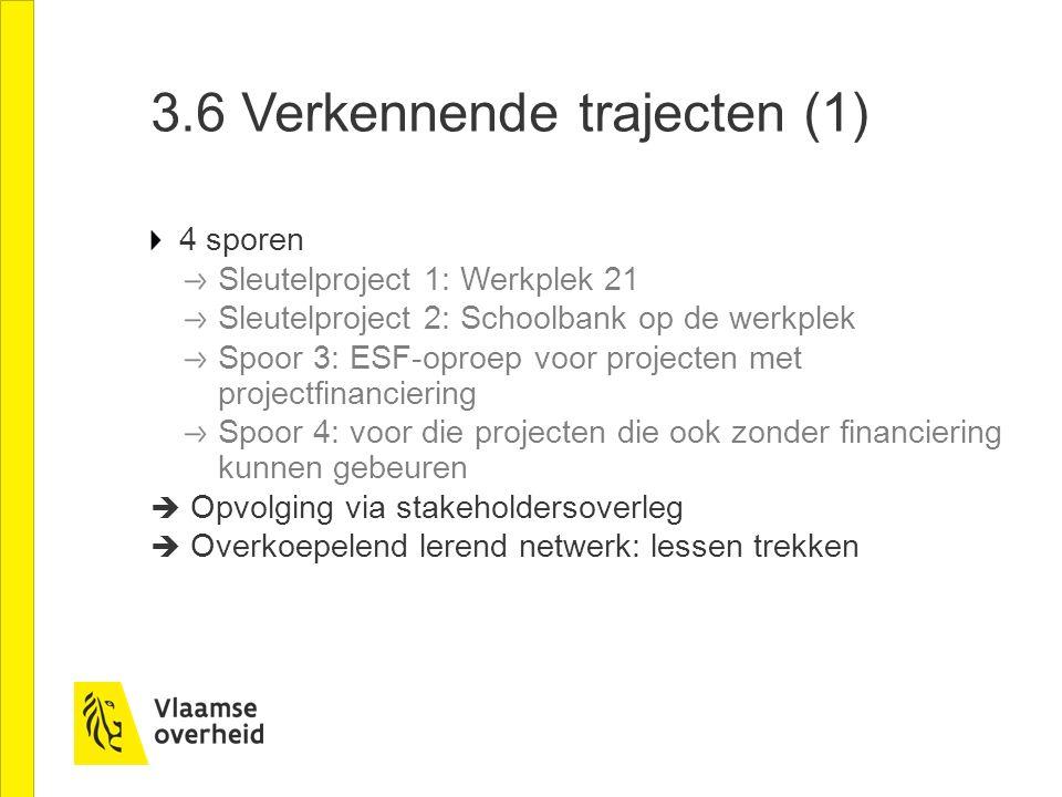 3.6 Verkennende trajecten (1) 4 sporen Sleutelproject 1: Werkplek 21 Sleutelproject 2: Schoolbank op de werkplek Spoor 3: ESF-oproep voor projecten me