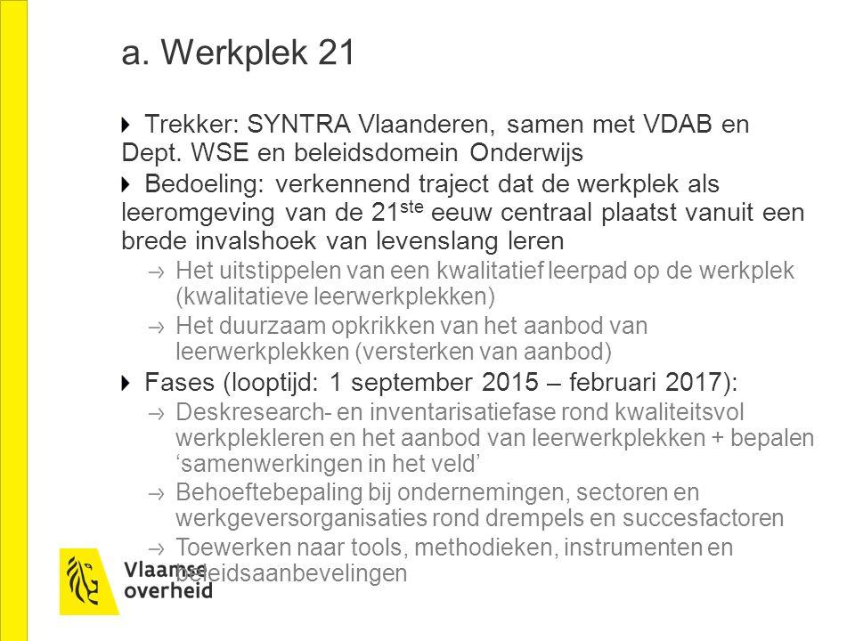 a. Werkplek 21 Trekker: SYNTRA Vlaanderen, samen met VDAB en Dept. WSE en beleidsdomein Onderwijs Bedoeling: verkennend traject dat de werkplek als le