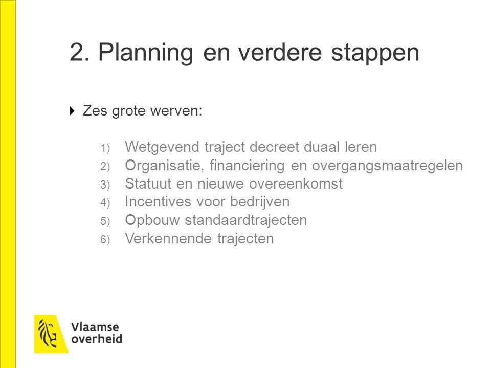 2. Planning en verdere stappen Zes grote werven: 1) Wetgevend traject decreet duaal leren 2) Organisatie, financiering en overgangsmaatregelen 3) Stat