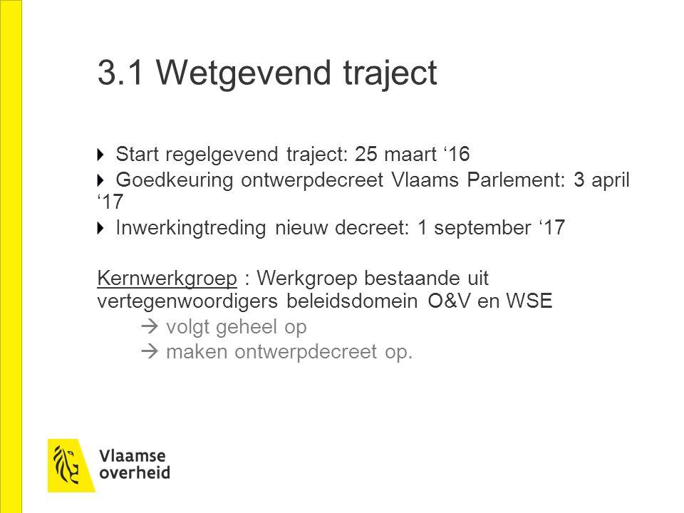 3.1 Wetgevend traject Start regelgevend traject: 25 maart '16 Goedkeuring ontwerpdecreet Vlaams Parlement: 3 april '17 Inwerkingtreding nieuw decreet: