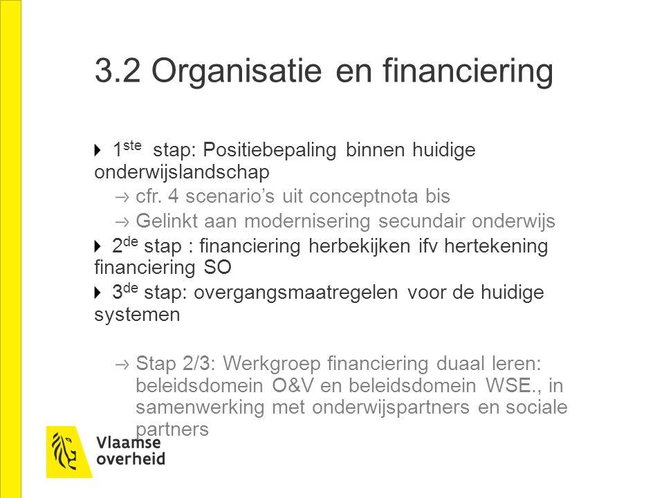 3.2 Organisatie en financiering 1 ste stap: Positiebepaling binnen huidige onderwijslandschap cfr. 4 scenario's uit conceptnota bis Gelinkt aan modern