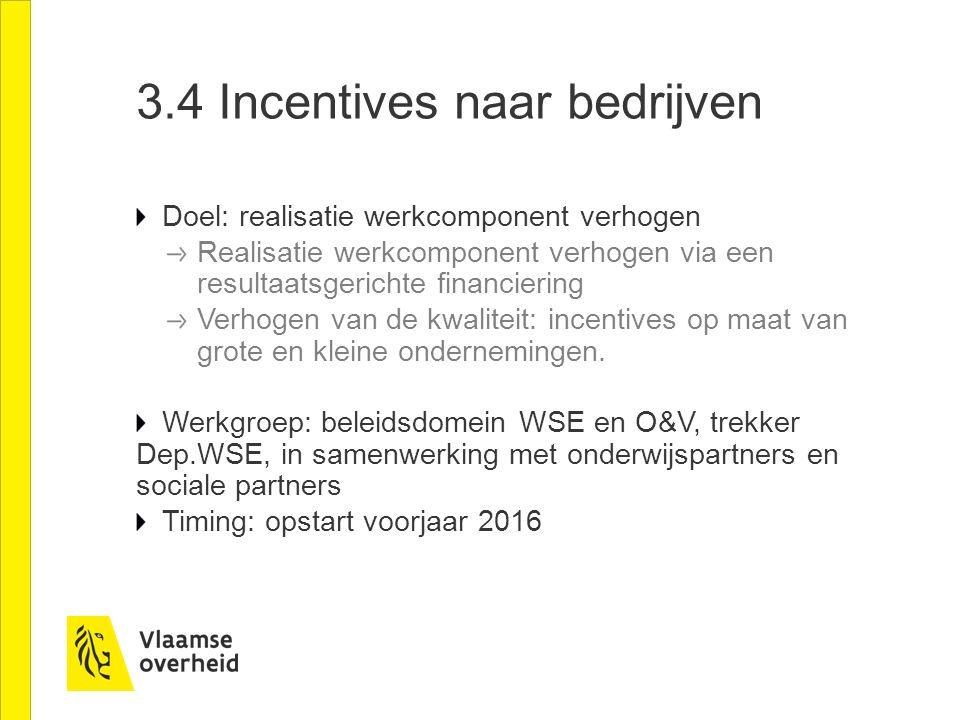 3.4 Incentives naar bedrijven Doel: realisatie werkcomponent verhogen Realisatie werkcomponent verhogen via een resultaatsgerichte financiering Verhogen van de kwaliteit: incentives op maat van grote en kleine ondernemingen.
