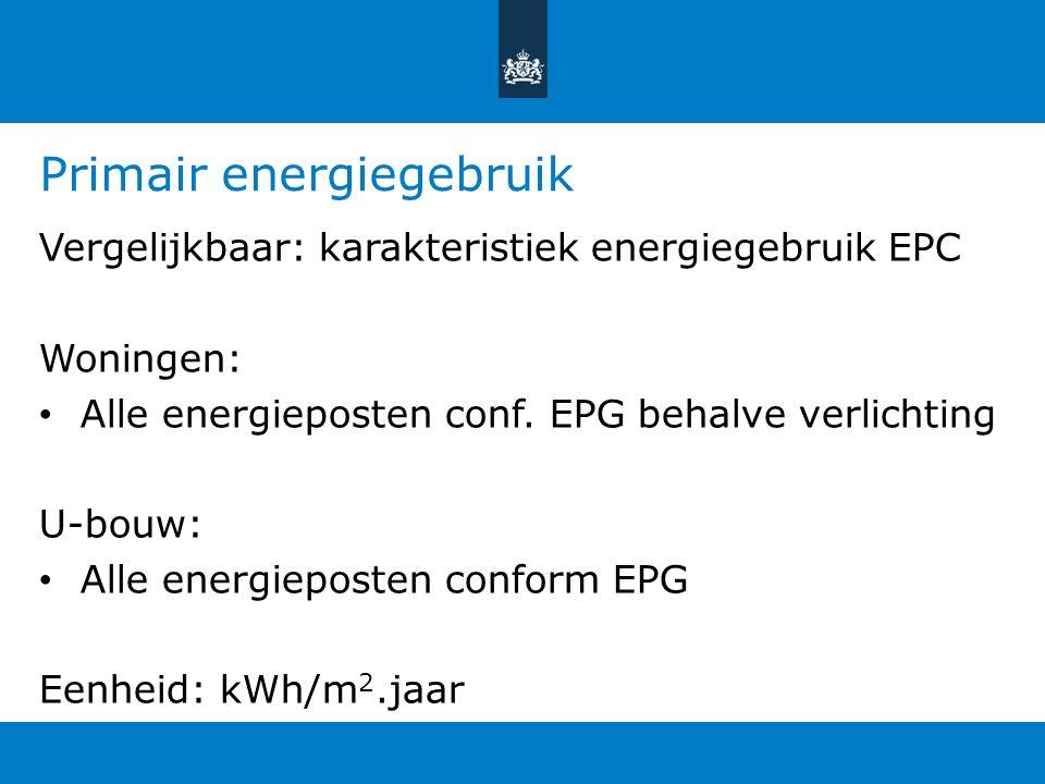 Primair energiegebruik Vergelijkbaar: karakteristiek energiegebruik EPC Woningen: Alle energieposten conf. EPG behalve verlichting U-bouw: Alle energi