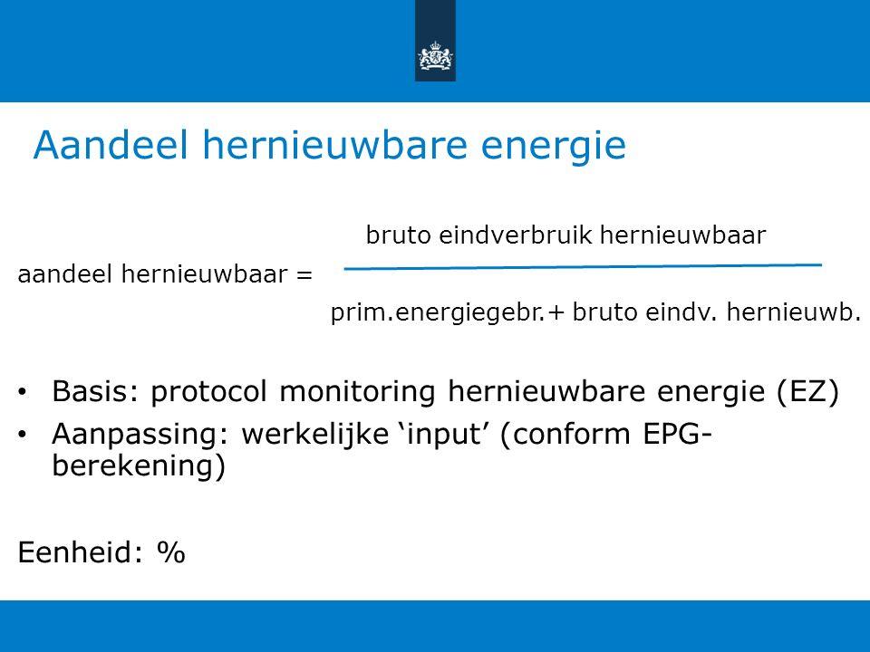 Aandeel hernieuwbare energie bruto eindverbruik hernieuwbaar aandeel hernieuwbaar = prim.energiegebr.+ bruto eindv. hernieuwb. Basis: protocol monitor