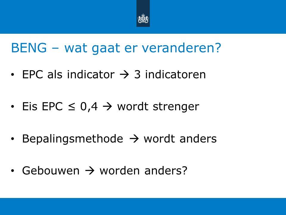 BENG – wat gaat er veranderen? EPC als indicator  3 indicatoren Eis EPC ≤ 0,4  wordt strenger Bepalingsmethode  wordt anders Gebouwen  worden ande