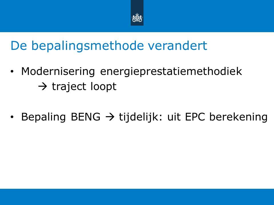 De bepalingsmethode verandert Modernisering energieprestatiemethodiek  traject loopt Bepaling BENG  tijdelijk: uit EPC berekening