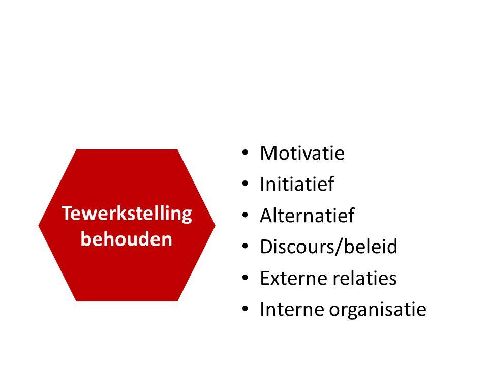 Motivatie Initiatief Alternatief Discours/beleid Externe relaties Interne organisatie Tewerkstelling behouden