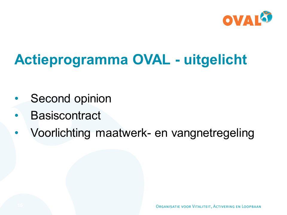 15 Actieprogramma OVAL - uitgelicht Second opinion Basiscontract Voorlichting maatwerk- en vangnetregeling