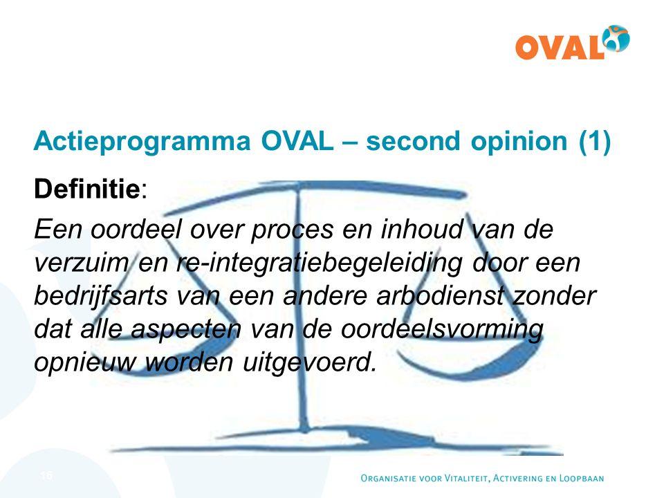 16 Actieprogramma OVAL – second opinion (1) Definitie: Een oordeel over proces en inhoud van de verzuim en re-integratiebegeleiding door een bedrijfsarts van een andere arbodienst zonder dat alle aspecten van de oordeelsvorming opnieuw worden uitgevoerd.