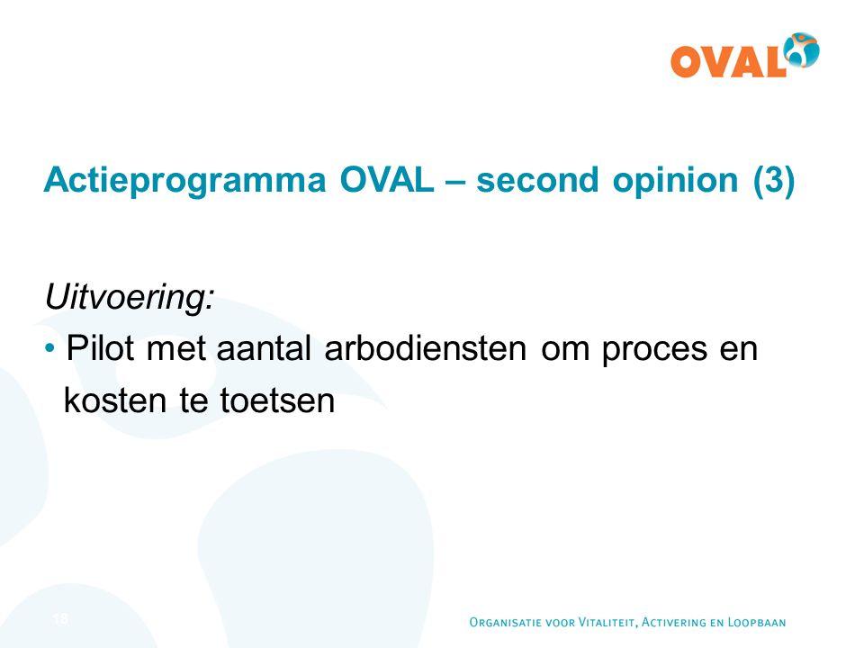 18 Actieprogramma OVAL – second opinion (3) Uitvoering: Pilot met aantal arbodiensten om proces en kosten te toetsen