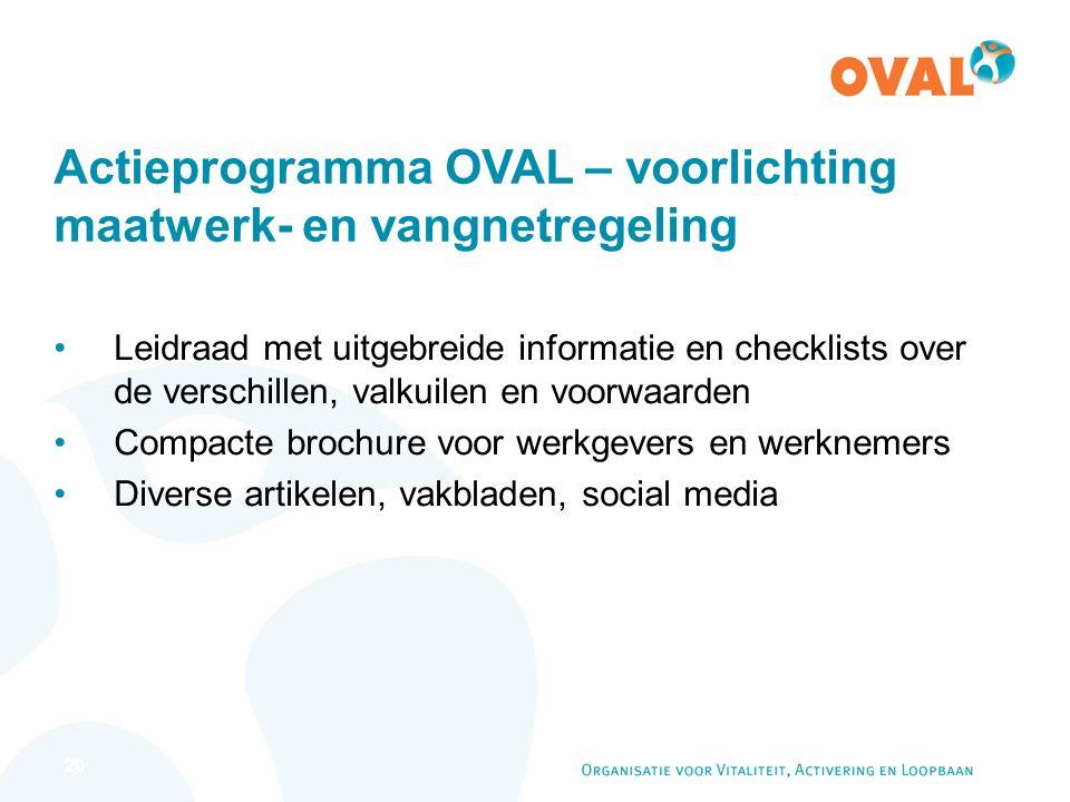 20 Actieprogramma OVAL – voorlichting maatwerk- en vangnetregeling Leidraad met uitgebreide informatie en checklists over de verschillen, valkuilen en voorwaarden Compacte brochure voor werkgevers en werknemers Diverse artikelen, vakbladen, social media