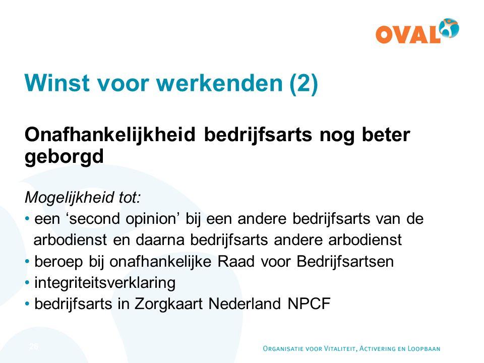 26 Winst voor werkenden (2) Onafhankelijkheid bedrijfsarts nog beter geborgd Mogelijkheid tot: een 'second opinion' bij een andere bedrijfsarts van de arbodienst en daarna bedrijfsarts andere arbodienst beroep bij onafhankelijke Raad voor Bedrijfsartsen integriteitsverklaring bedrijfsarts in Zorgkaart Nederland NPCF