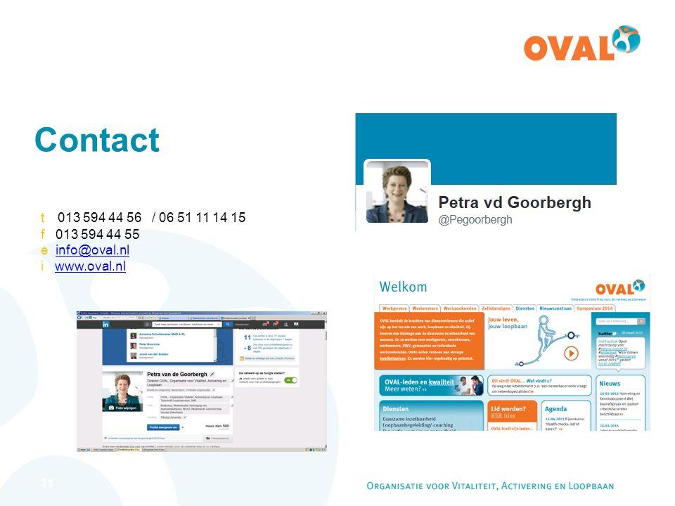 31 Contact t 013 594 44 56 / 06 51 11 14 15 f 013 594 44 55 e info@oval.nlinfo@oval.nl i www.oval.nlwww.oval.nl