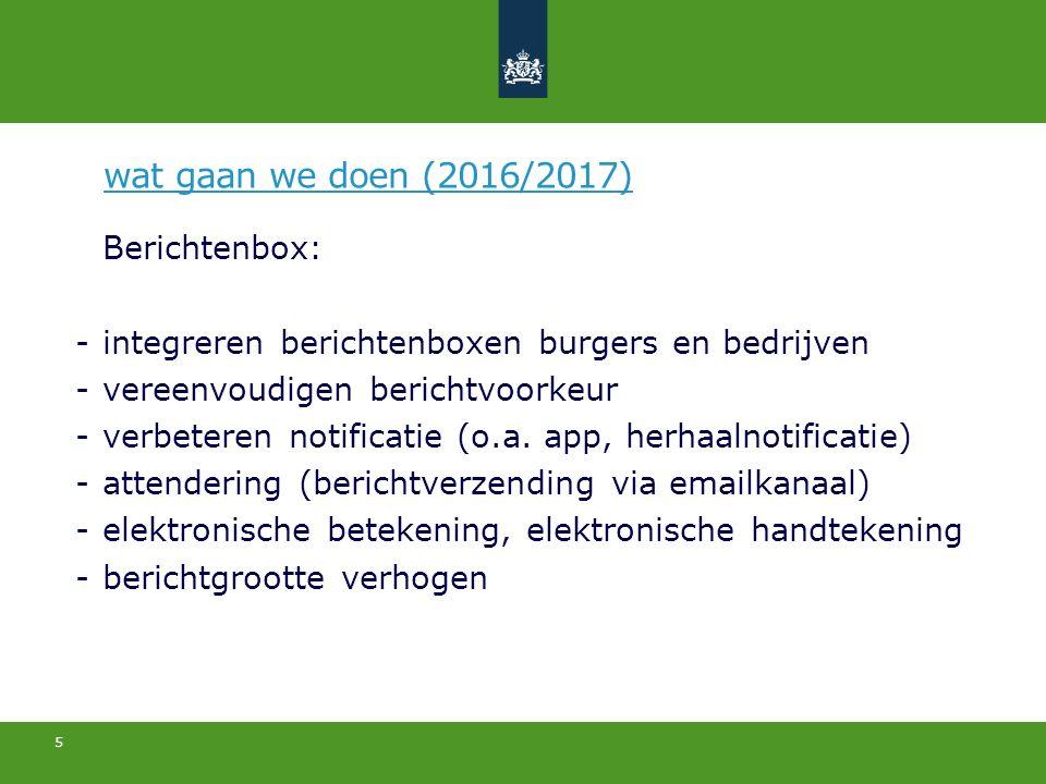 5 Berichtenbox: -integreren berichtenboxen burgers en bedrijven -vereenvoudigen berichtvoorkeur -verbeteren notificatie (o.a.