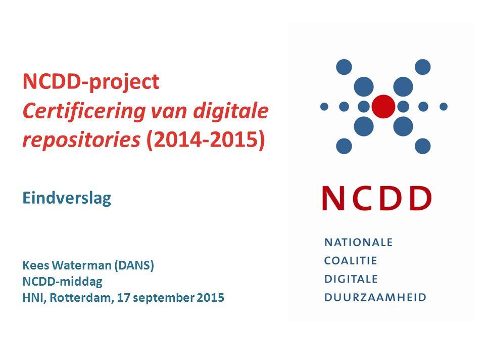 Projectgroep NCDD > NDE U hoort van ons, NCDD- projectgroep, 2014-2015: Margriet van Gorsel (NA) Annemieke de Jong (NIBG) Barbara Sierman (KB) Madeleine de Smaele (3TU.Datacentrum) Kees Waterman (DANS) kees.waterman@dans.knaw.nlkees.waterman@dans.knaw.nl [Tot 2/2015, Leon Bok (RCE)] Uitbreiding in NDE -project, 2015-2016: Robert Gillisse (DEN) vertegenwoordiger van de Erfgoedinspectie