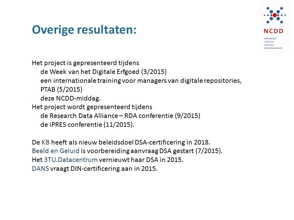 Overige resultaten: Het project is gepresenteerd tijdens de Week van het Digitale Erfgoed (3/2015) een internationale training voor managers van digitale repositories, PTAB (5/2015) deze NCDD-middag.