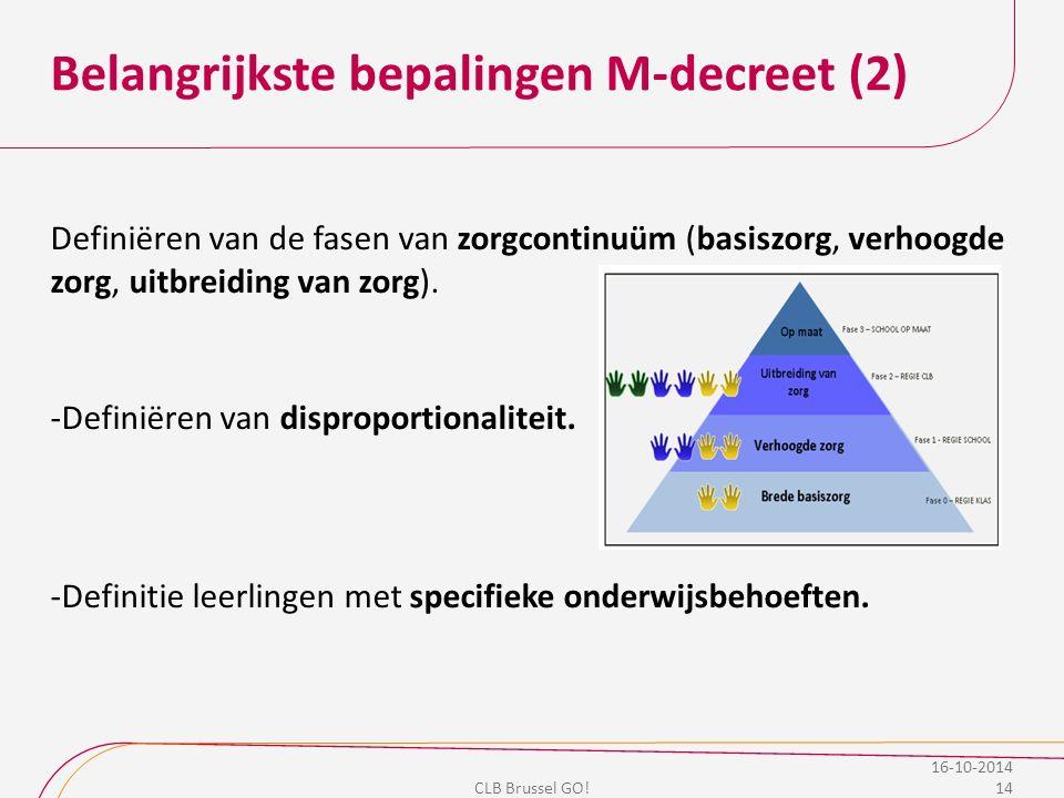 Belangrijkste bepalingen M-decreet (2) Definiëren van de fasen van zorgcontinuüm (basiszorg, verhoogde zorg, uitbreiding van zorg). -Definiëren van di