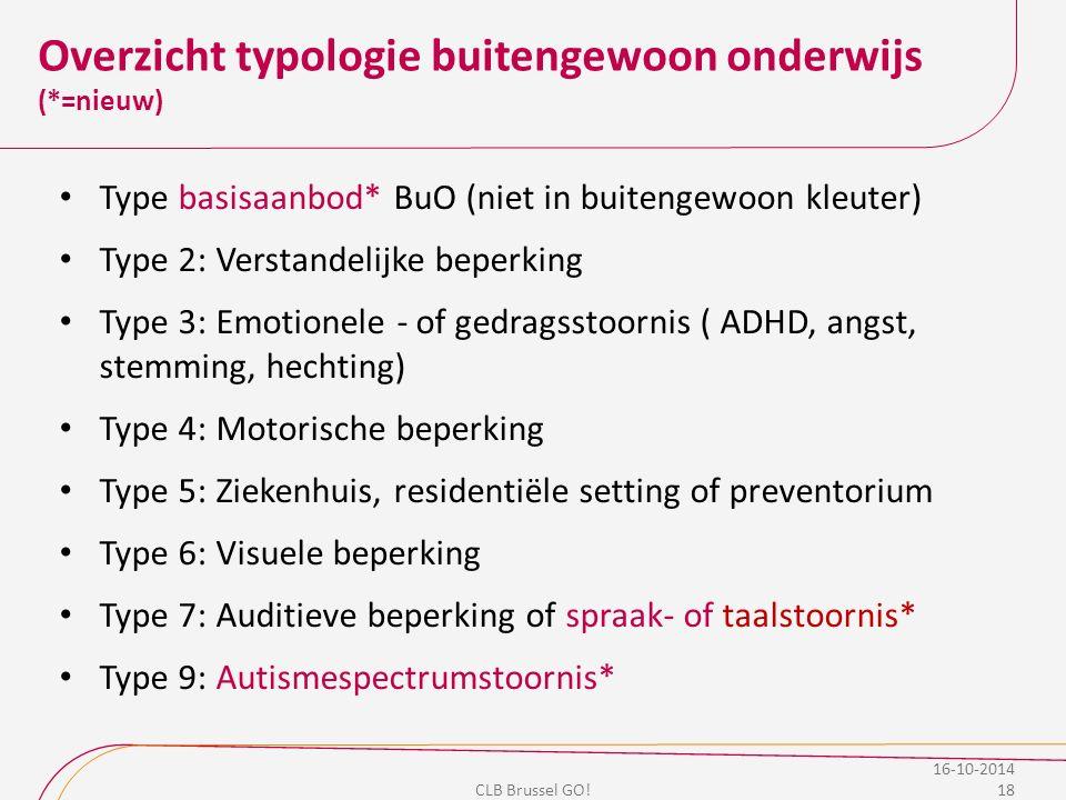 Overzicht typologie buitengewoon onderwijs (*=nieuw) Type basisaanbod* BuO (niet in buitengewoon kleuter) Type 2: Verstandelijke beperking Type 3: Emo