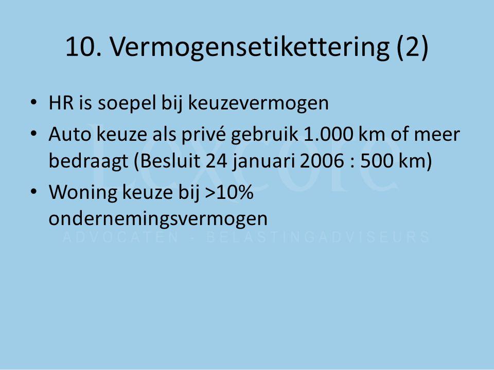 10. Vermogensetikettering (2) HR is soepel bij keuzevermogen Auto keuze als privé gebruik 1.000 km of meer bedraagt (Besluit 24 januari 2006 : 500 km)