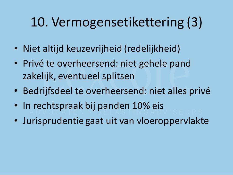 10. Vermogensetikettering (3) Niet altijd keuzevrijheid (redelijkheid) Privé te overheersend: niet gehele pand zakelijk, eventueel splitsen Bedrijfsde