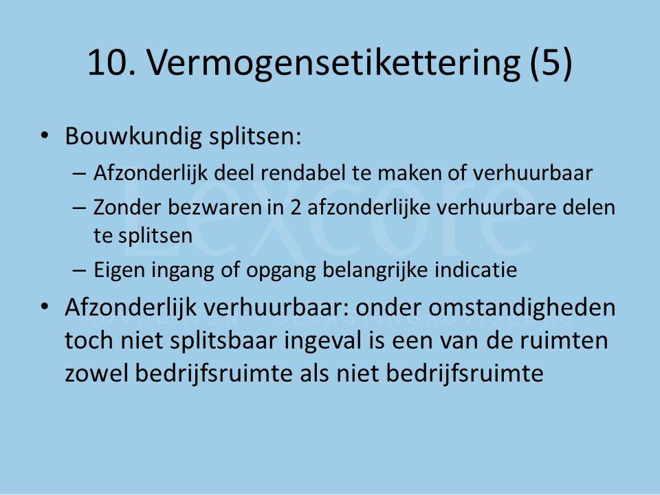 10. Vermogensetikettering (5) Bouwkundig splitsen: – Afzonderlijk deel rendabel te maken of verhuurbaar – Zonder bezwaren in 2 afzonderlijke verhuurba
