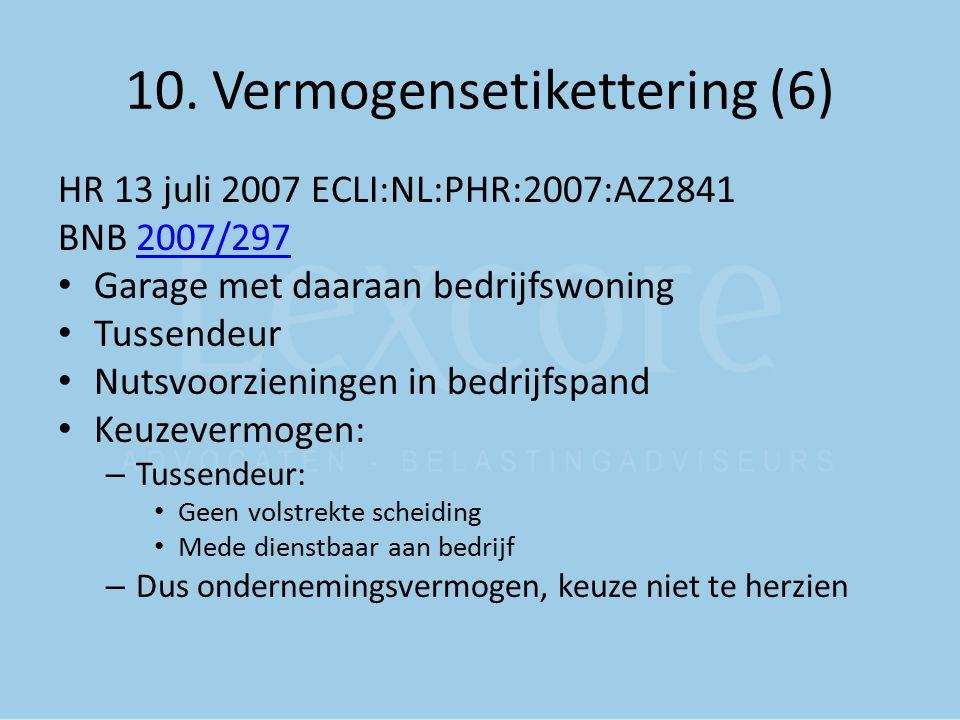 10. Vermogensetikettering (6) HR 13 juli 2007 ECLI:NL:PHR:2007:AZ2841 BNB 2007/2972007/297 Garage met daaraan bedrijfswoning Tussendeur Nutsvoorzienin
