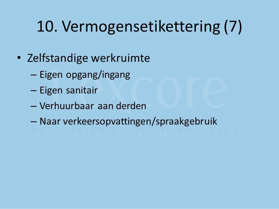 10. Vermogensetikettering (7) Zelfstandige werkruimte – Eigen opgang/ingang – Eigen sanitair – Verhuurbaar aan derden – Naar verkeersopvattingen/spraa