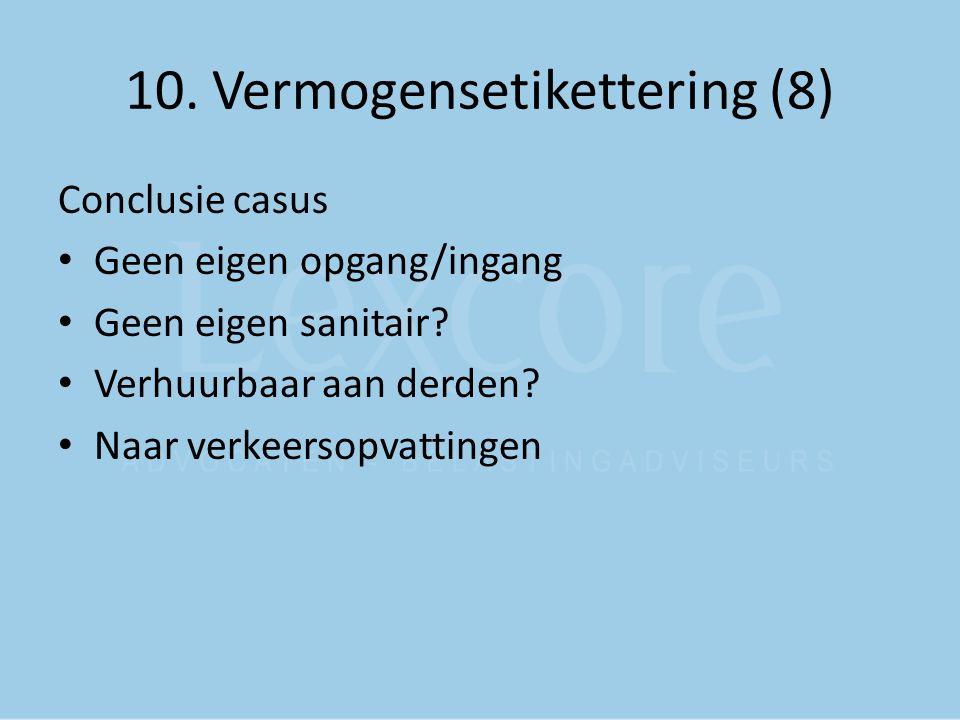 10. Vermogensetikettering (8) Conclusie casus Geen eigen opgang/ingang Geen eigen sanitair? Verhuurbaar aan derden? Naar verkeersopvattingen