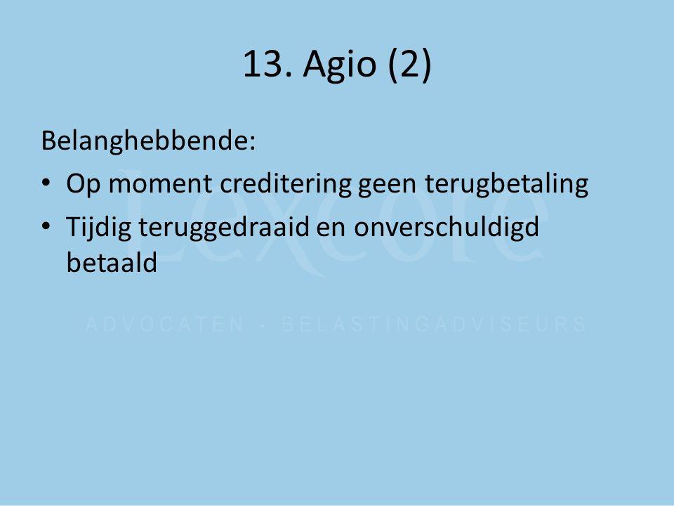 13. Agio (2) Belanghebbende: Op moment creditering geen terugbetaling Tijdig teruggedraaid en onverschuldigd betaald