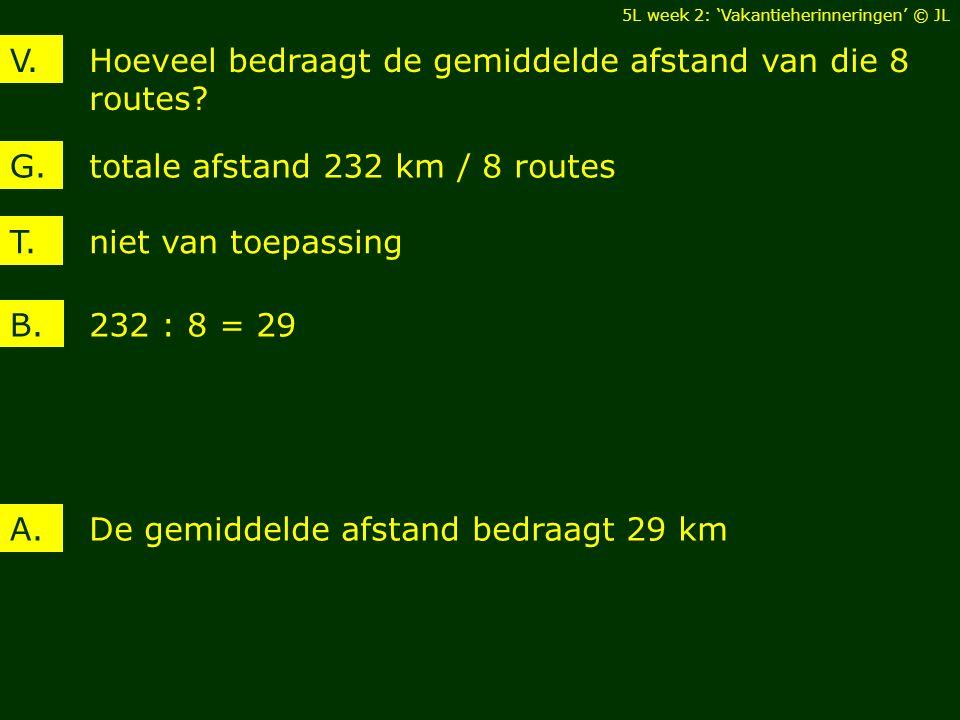 Hoeveel bedraagt de gemiddelde afstand van die 8 routes? V. totale afstand 232 km / 8 routesG. De gemiddelde afstand bedraagt 29 kmA. T. niet van toep