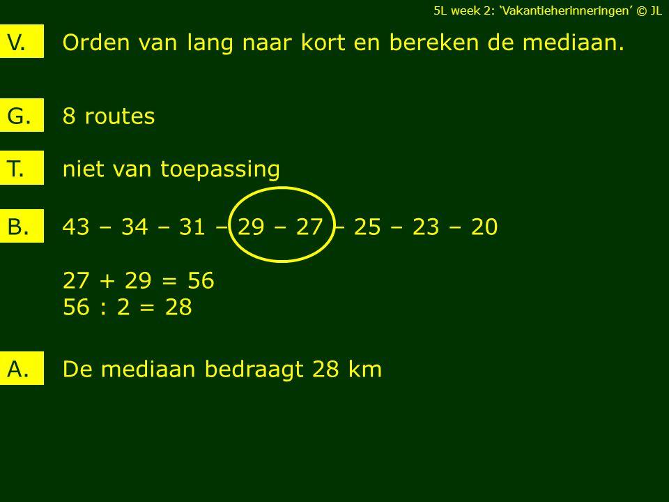 Orden van lang naar kort en bereken de mediaan.V. 8 routesG. De mediaan bedraagt 28 kmA. T. niet van toepassing 43 – 34 – 31 – 29 – 27 – 25 – 23 – 20
