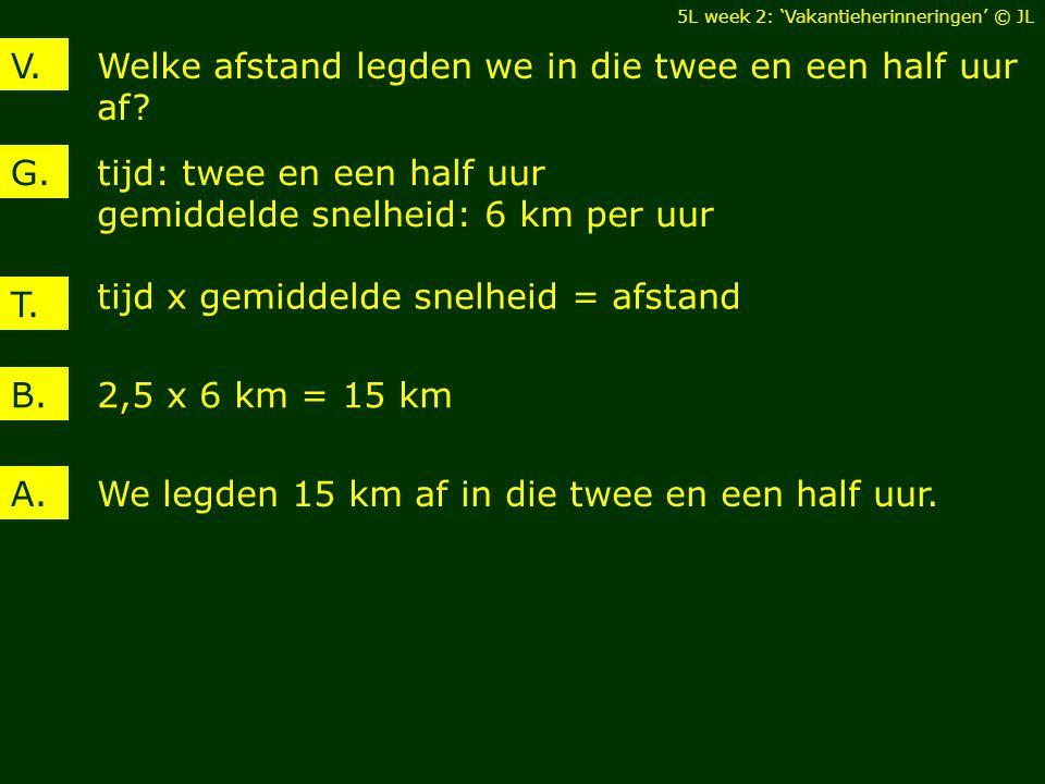 Welke afstand legden we in die twee en een half uur af? V. tijd: twee en een half uur gemiddelde snelheid: 6 km per uur G. 2,5 x 6 km = 15 kmB. We leg