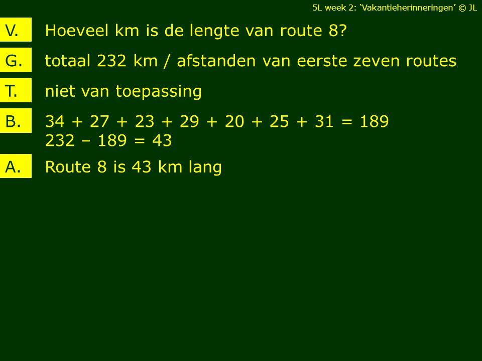 Hoeveel km is de lengte van route 8?V. totaal 232 km / afstanden van eerste zeven routesG. 34 + 27 + 23 + 29 + 20 + 25 + 31 = 189 232 – 189 = 43 B. Ro