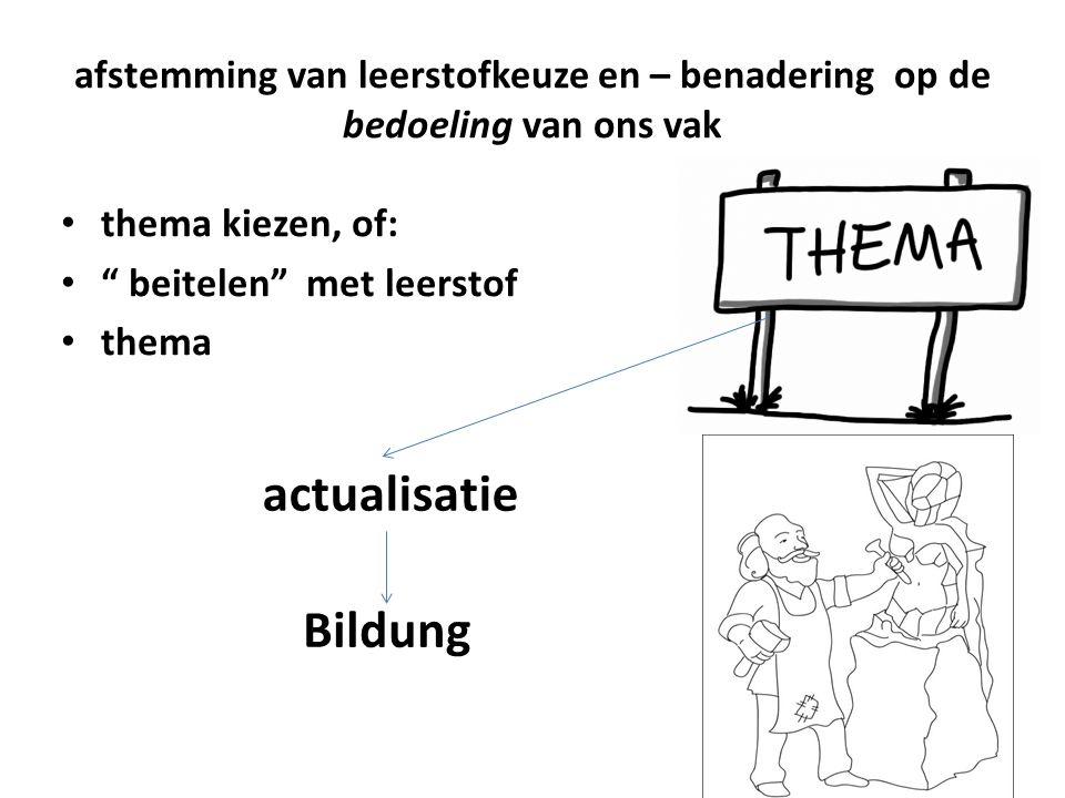 """afstemming van leerstofkeuze en – benadering op de bedoeling van ons vak thema kiezen, of: """" beitelen"""" met leerstof thema actualisatie Bildung"""