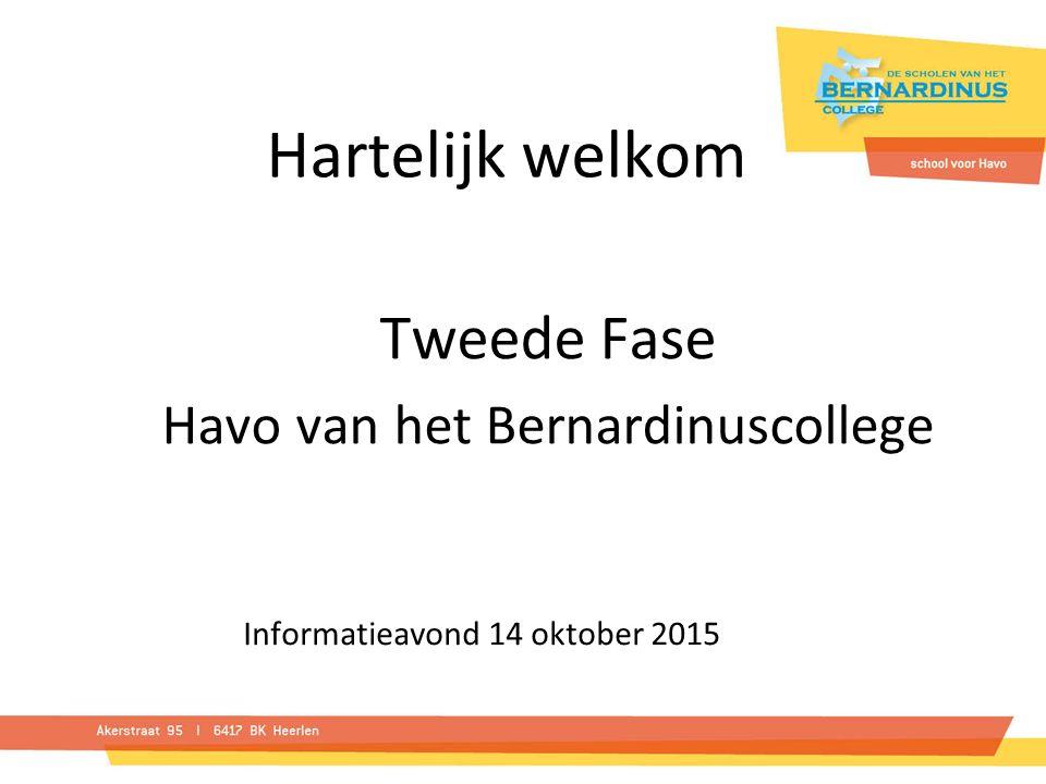 Hartelijk welkom Tweede Fase Havo van het Bernardinuscollege Informatieavond 14 oktober 2015