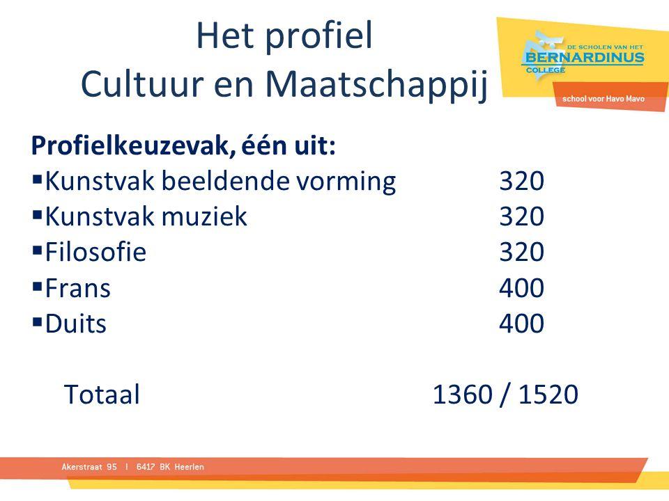 Het profiel Cultuur en Maatschappij Profielkeuzevak, één uit:  Kunstvak beeldende vorming 320  Kunstvak muziek 320  Filosofie320  Frans 400  Duits 400 Totaal 1360 / 1520