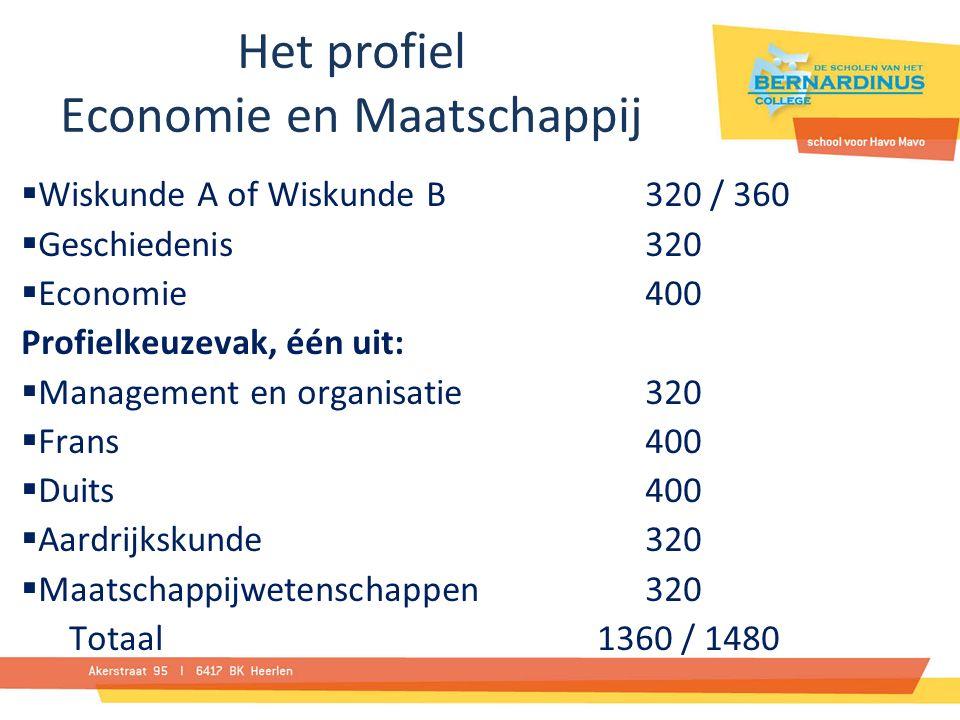 Het profiel Economie en Maatschappij  Wiskunde A of Wiskunde B320 / 360  Geschiedenis 320  Economie 400 Profielkeuzevak, één uit:  Management en organisatie 320  Frans 400  Duits 400  Aardrijkskunde 320  Maatschappijwetenschappen 320 Totaal 1360 / 1480