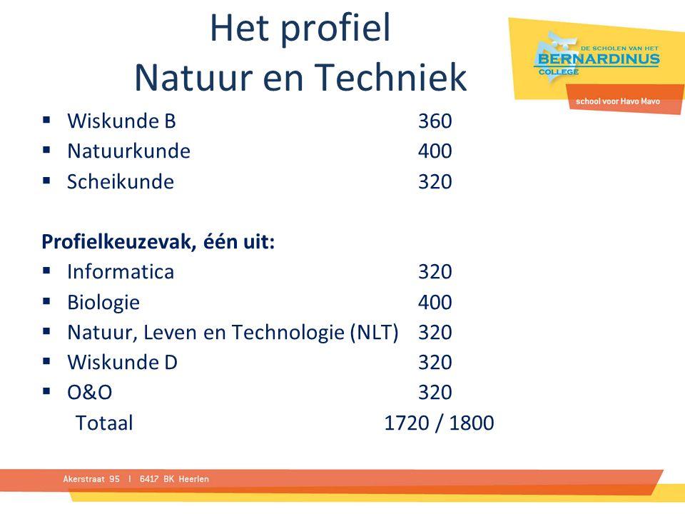 Het profiel Natuur en Techniek  Wiskunde B360  Natuurkunde400  Scheikunde320 Profielkeuzevak, één uit:  Informatica320  Biologie400  Natuur, Leven en Technologie (NLT)320  Wiskunde D320  O&O320 Totaal 1720 / 1800