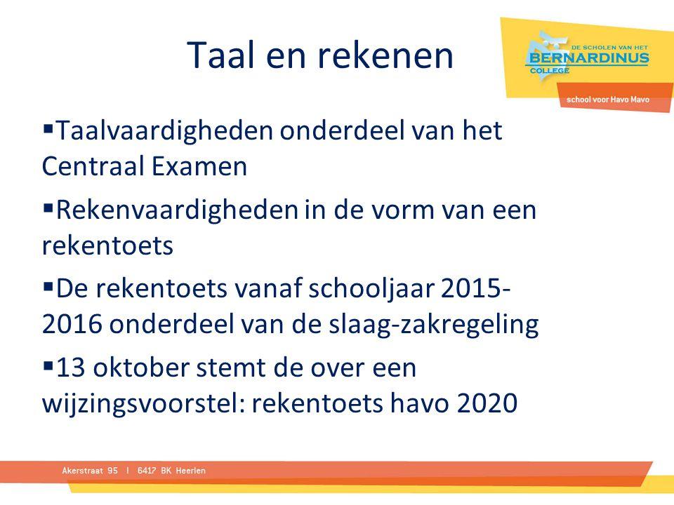 Taal en rekenen  Taalvaardigheden onderdeel van het Centraal Examen  Rekenvaardigheden in de vorm van een rekentoets  De rekentoets vanaf schooljaar 2015- 2016 onderdeel van de slaag-zakregeling  13 oktober stemt de over een wijzingsvoorstel: rekentoets havo 2020